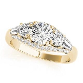 Transcendent Brilliance 14k White Gold Three Stone 1 1/8 TDW Diamond Engagement Ring