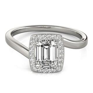 Transcendent Brilliance Halo Curved Shank Emerald Cut 1 1/8 TDW Diamond Engagement Ring