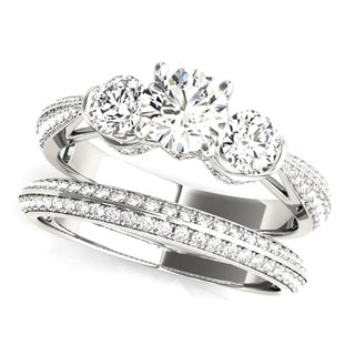 Transcendent Brilliance 14k Gold Three Stone MultiRow 1 3/5 TDWDiamond Bridal Set