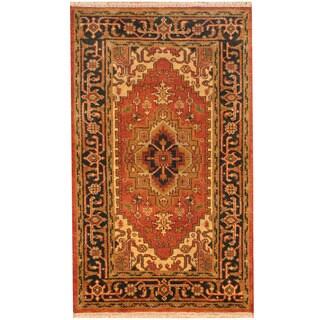 Handmade Herat Oriental Indo Heriz Wool Rug (India) - 3'1 x 5'2