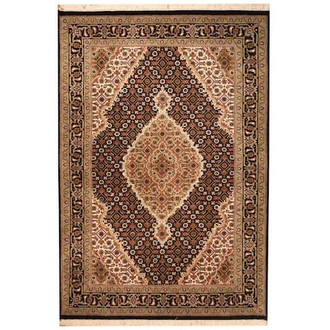 Handmade One-of-a-Kind Tabriz Wool and Silk Rug (India) - 3'4 x 5'