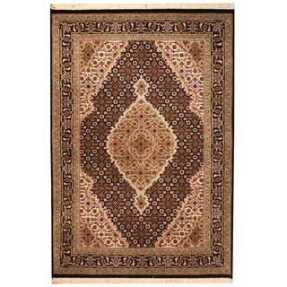 Herat Oriental Indo Hand-knotted Tabriz Wool & Silk Rug (3'4 x 5')