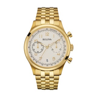 Bulova Men's Chronograph Watch, Gold-Tone Bracelet 97B149