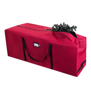 Elf Stor Red Canvas Rolling Christmas Tree Storage Duffle Bag