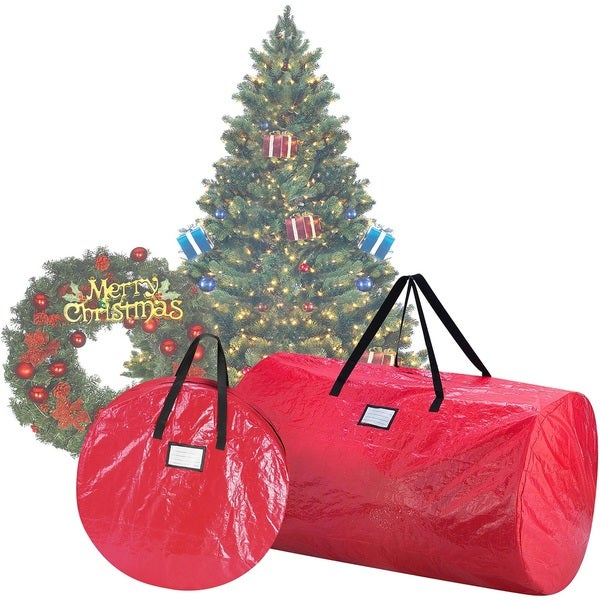 Elf Stor Red Plastic Deluxe Christmas Tree Storage Bag And 30 Inch Wreath  Bag