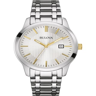Bulova Dress 98B241 Men's Two Tone Silver White Dial Stainless Steel Watch