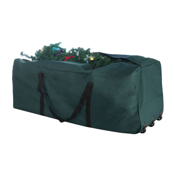 Elf Stor Green Canvas Rolling Christmas Tree Storage