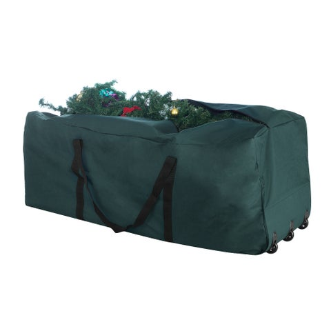 Elf Stor Green Canvas Rolling Christmas Tree Storage Duffel Bag