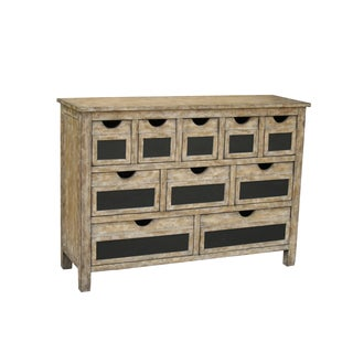 Hand-painted Distressed Antique Ivory Finish Accent Chest