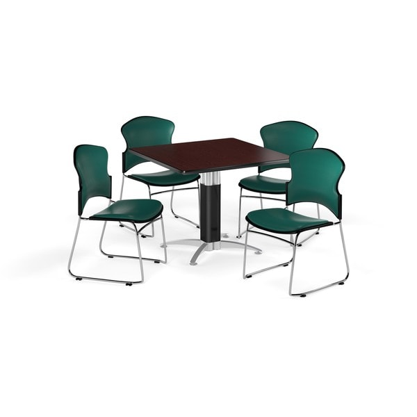 OFM Mahogany 42-inch Square Mesh Base Multi Purpose Laminate Table with 4 Vinyl Chairs