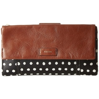 Fossil Ellis Leather Brown and Black with White Dot Wallet