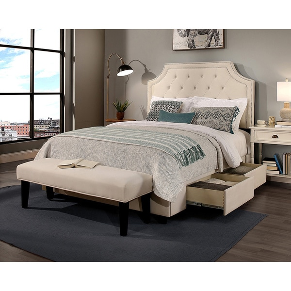 Republic Design House Audrey Ivory Tufted Upholstered Queen Bedroom Collection With Padded Bench Option