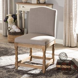 Baxton Studio Phyllis French Vintage Cottage Weathered Oak Finish Wood and Beige Fabric Upholstered