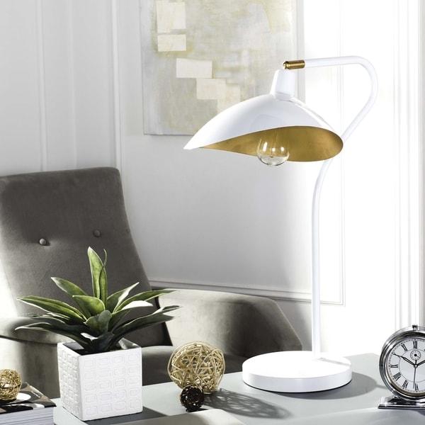 Safavieh Lighting 30-inch Giselle Adjustable White/ Gold Task Table Lamp