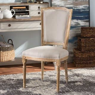 Baxton Studio Pallas French Vintage Cottage Weathered Oak Finish Wood and Beige Fabric Upholstered D