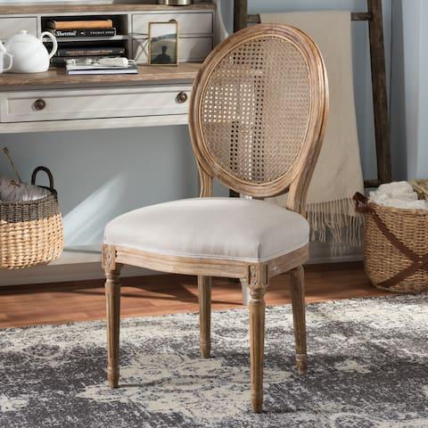 Baxton Studio Oulixeus French Vintage Cottage Weathered Oak Finish Wood and Beige Fabric Upholstered