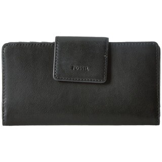 Fossil Emma RFID Black Leather Tab Clutch Wallet