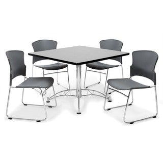 OFM Gray 42-inch Round Laminate Table with 4 Plastic Guest Chairs