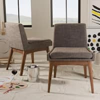 Strick & Bolton Benny Mid-Century Modern and Gravel Upholstered Dining Chairs