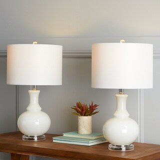 "Safavieh Lighting 26-inch Franny Off-White Table Lamp (Set of 2) - 14""x14""x25.75"""