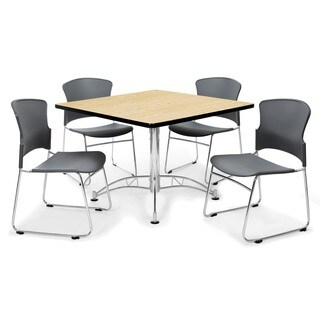 OFM Oak 42-inch Round Laminate Table with 4 Plastic Guest Chairs