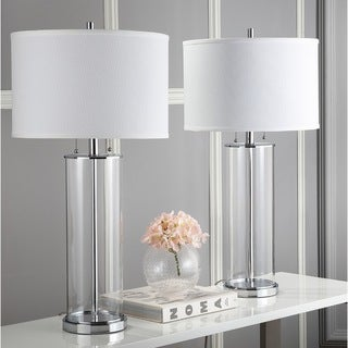 "Safavieh Lighting 31-inch Velma Clear/ Off-White Table Lamp (Set of 2) - 16"" x 16"" x 31"""