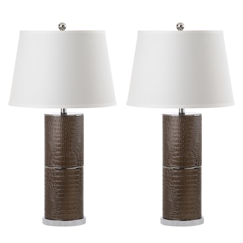 Safavieh Lighting 33-inch Pearson Brown/ Off-White Table Lamp (Set of 2)
