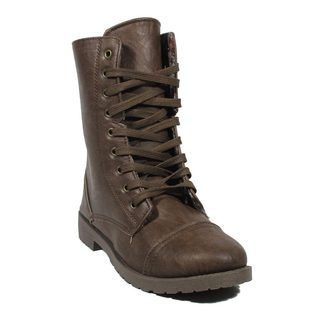 Blue Women's Millie-6 Brown Faux Leather Mid-calf Military-style Lace-up Boots