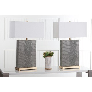 Safavieh Lighting 27.75-inch Joyce Faux Alligator Grey Table Lamp (Set of 2)