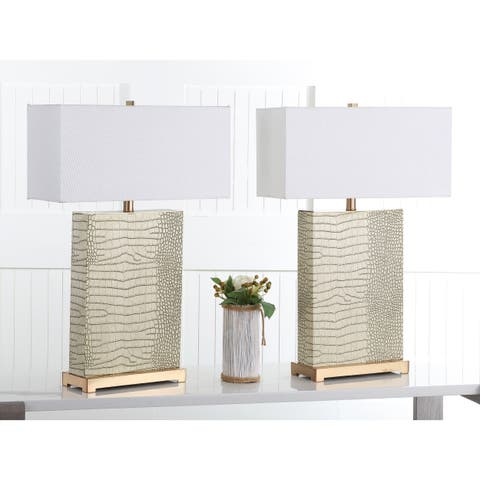 Safavieh Lighting 28-inch Joyce Faux Alligator Cream Table Lamp (Set of 2)
