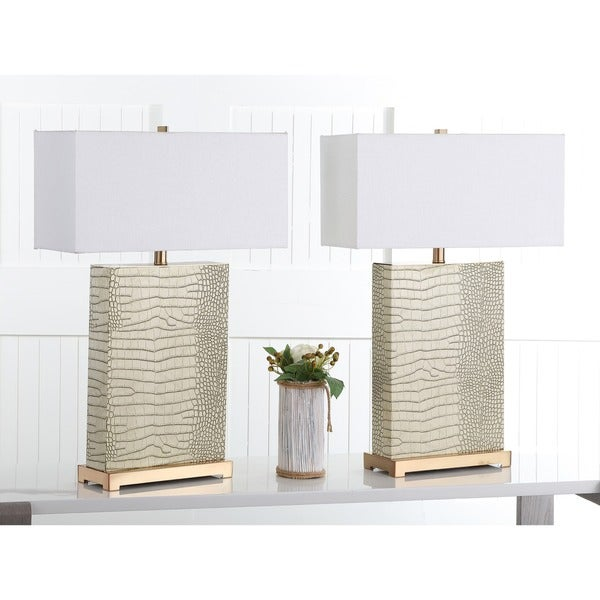 Safavieh Lighting 27.75-inch Joyce Faux Alligator Cream Table Lamp (Set of 2)