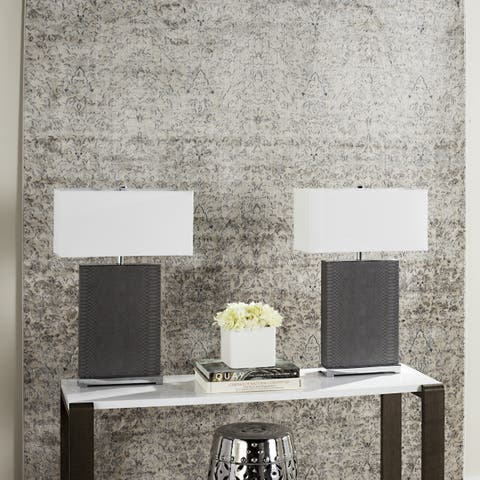 Safavieh Lighting 28-inch Joyce Faux Snakeskin Grey Table Lamp (Set of 2)