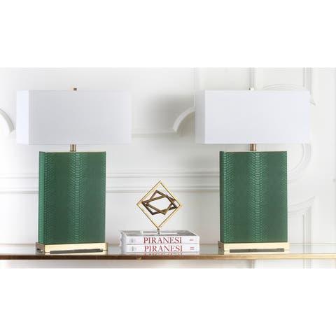 Safavieh Lighting 28-inch Joyce Faux Snakeskin Dark Green Table Lamp (Set of 2)