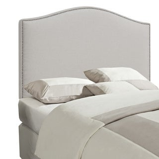 White Linen Arched King/California King-size Upholstered Headboard