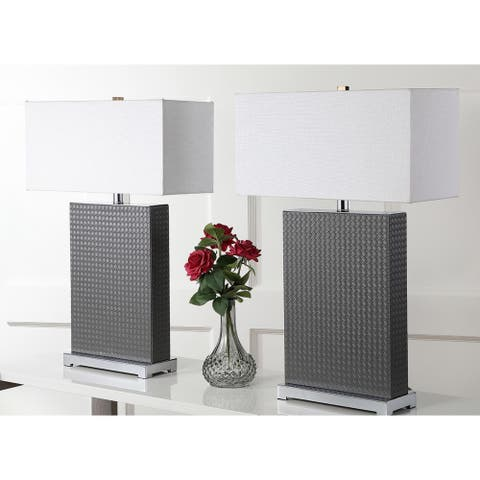 "Safavieh Lighting 28-inch Joyce Faux Woven Leather Grey Table Lamp (Set of 2) - 18""x8 ""x27.75"""