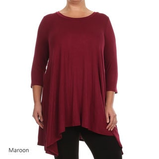 MOA Collection Women's Rayon and Spandex Plus-size Solid Top