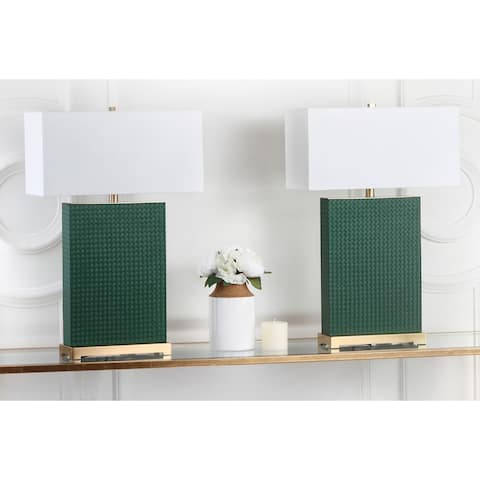 Safavieh Lighting 28-inch Joyce Faux Woven Leather Dark Green Table Lamp (Set of 2)