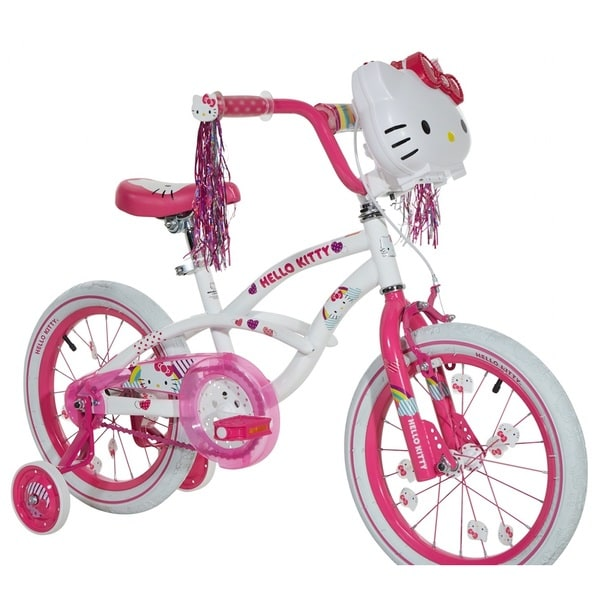 Dynacraft Hello Kitty Pink and White Steel 16-inch Bike With Light-up Case