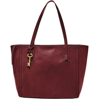 Fossil Emma Wine Leather Tote Bag
