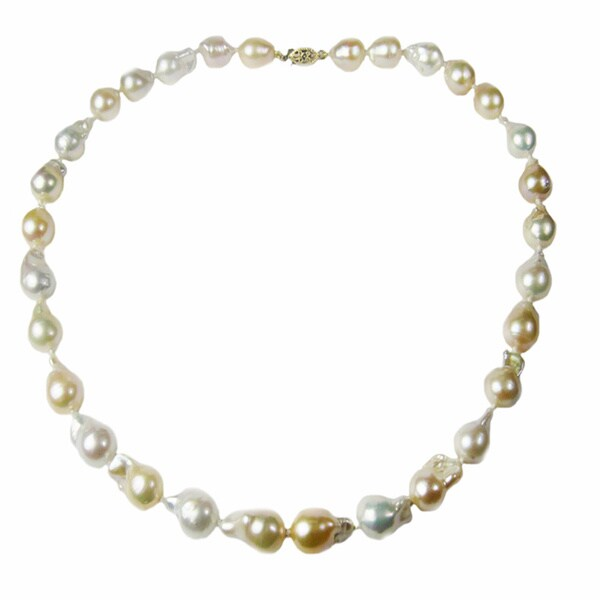 pearl lustre 14k gold and genuine baroque pearl necklace free shipping today. Black Bedroom Furniture Sets. Home Design Ideas