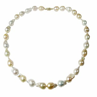 Pearl Lustre 14k Gold and Genuine Baroque Pearl Necklace