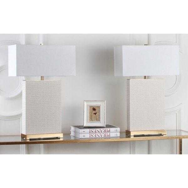 Safavieh Lighting 27.75-inch Joyce Faux Woven Leather Cream Table Lamp (Set of 2)