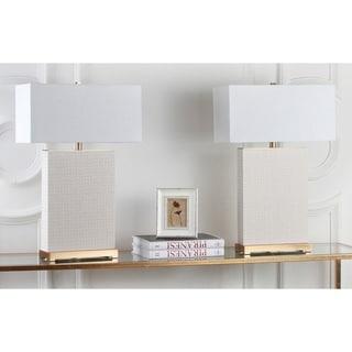 Safavieh Lighting 28-inch Joyce Faux Woven Leather Cream Table Lamp (Set of 2)