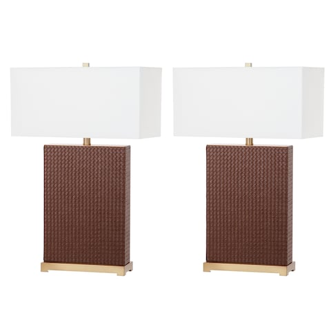 Safavieh Lighting 28-inch Joyce Faux Woven Leather Brown Table Lamp (Set of 2)