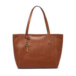 Fossil Emma Brown Leather Tote