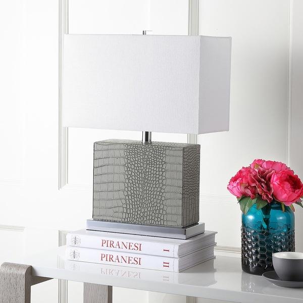 Safavieh Lighting 20.5-inch Delia Faux Alligator Grey Table Lamp