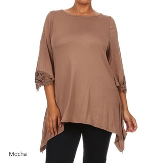 MOA Collection Women's Burgundy Rayon/Spandex Plus-size Top