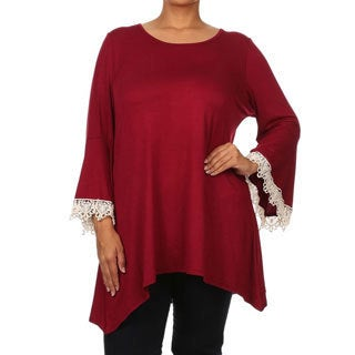 MOA Collection Women's Plus Size Bell Sleeve Rayon, Spandex Top