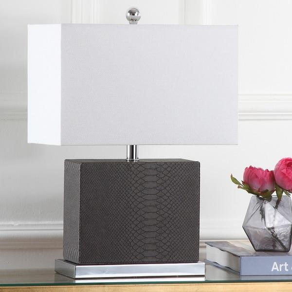 Safavieh Lighting 20.5-inch Delia Faux Snakeskin Grey Table Lamp