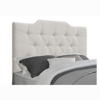White Fabric King/ California King Upholstered Tufted Headboard